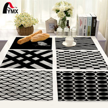 Simple Black and White Stripes Pattern Table Mat Geometry Printing Table Napkin Placemat Kitchen Decoration Dining Accessories