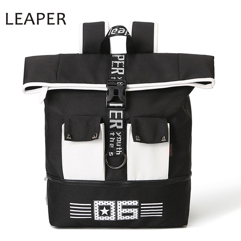 LEAPER New Fashion Mens Back Pack Bags Laptop Oxford Backpack Men Women Mochila Escolar Rucksack School Bag Unisex For Teenagers
