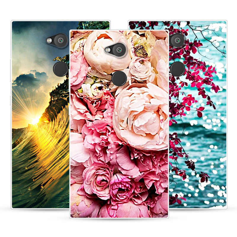 Phone Case For Sony Xperia L2 Soft Silicone TPU Fashion Flower Painted Back Cover For Sony Xperia L2 Case