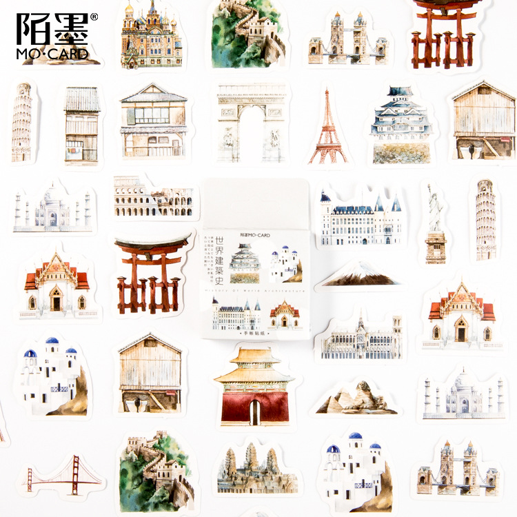 46 Pcs/lot World Architecture Bullet Journal Stickers Set Adhesive Stickers DIY Decoration Diary Japanese Stationery Stickers