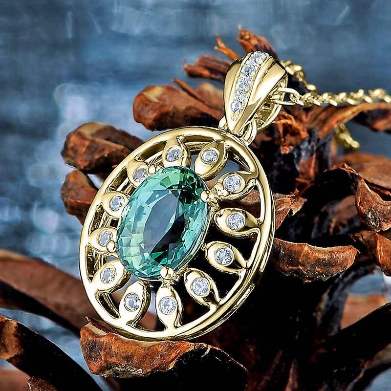 OMHXZJ ขายส่งยุโรปแฟชั่นผู้หญิงสาวของขวัญพระเจ้า Eye Sapphire Zircon สร้อยคอจี้เงิน 925 จี้ Charm CA16