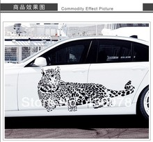 QZ1222 Free Shipping 1 Pcs Black White leopard Speed Staring Car Decotation Removable Wall Stickers Fancy Home Decoration(China)