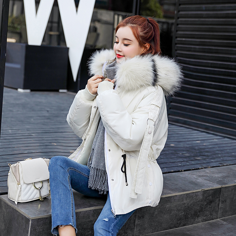 5 Color White Winter Coat Women 2018 New   Parka   Casual Outwear Hooded Thickening Cotton Coat Winter Jacket Fur Coat Women Clothe