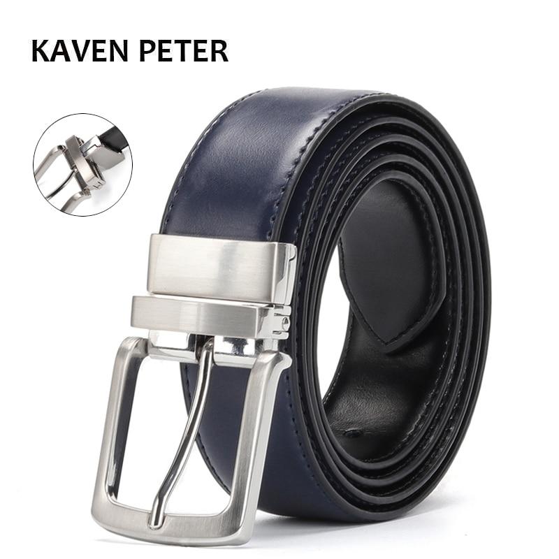 Reversible Leather Belt Men Accessories Luxury Waist Belt For Jeans Male Rotated Buckle Designer Cowskin Dress Belts Blue