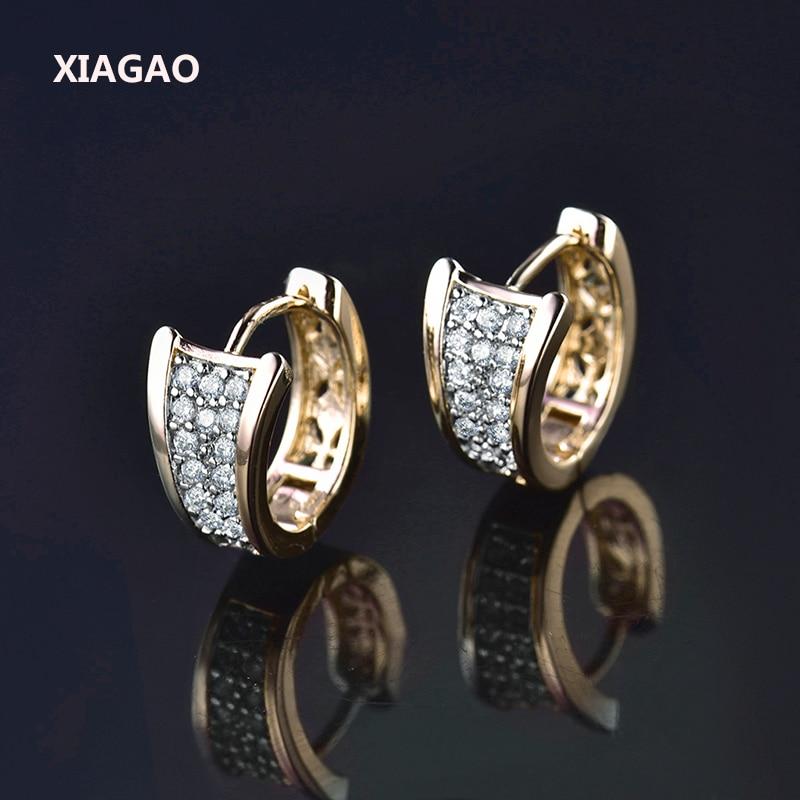 XIAGAO Trendy Statement Gold color Hoop Huggie Earrings For Women font b Crystal b font Zirconia