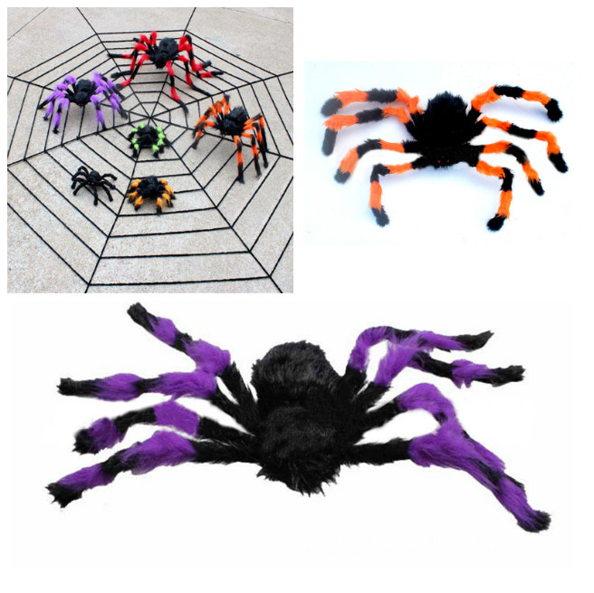 plush spider toy halloween decoration haunted house indoor outdoor horror props prank joke scary toys tb