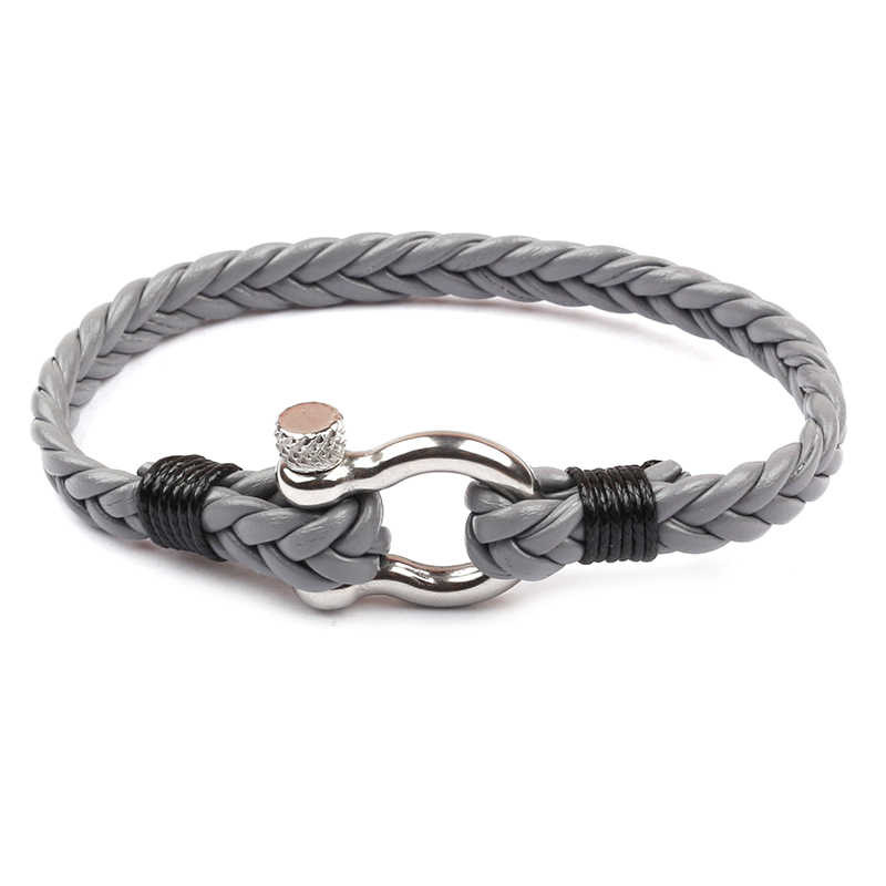 MKENDN תכשיטים חיל הים סגנון עור צמיד גברים נשים הישרדות צמיד עם נירוסטה שאקל אבזם זכר תכשיטים