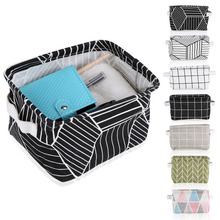 Cotton Linen Storage Box With Handle Desk Organizer Underwear Bra Packing Makeup Jewelry Cosmetic Cloth Folding Storage Box