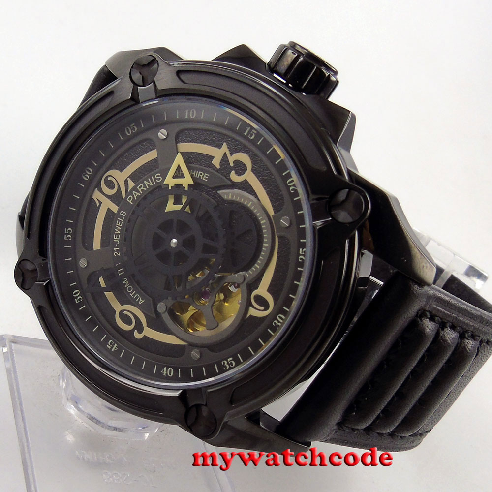 44mm Parnis black dial black PVD miyota Sapphire Glass automatic mens Watch 670 цена и фото