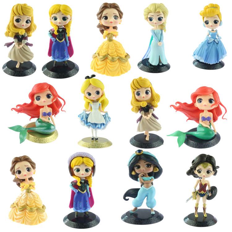 Disney Princess Toys Q Posket Frozen Elsa Anna Pvc Action Figures Snow White Merida Dolls Kids Toys For Girls Gift