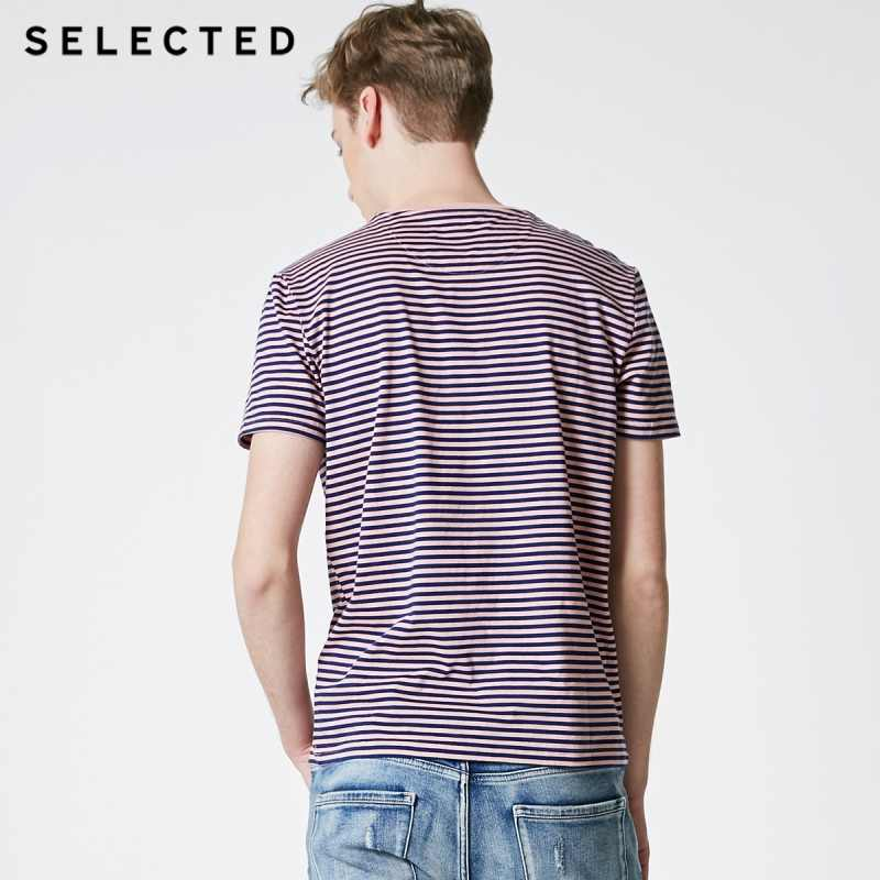 Geselecteerd Mannen Zomer 100% Katoen Gestreepte Korte Mouwen T-shirt S | 419201580