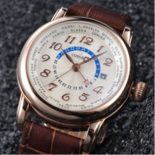 43mm Corgeut Newest White Dial Golden Case GMT Date Window mineral glass top brand Luxury Automatic Mechanical Men's Wrist Watch