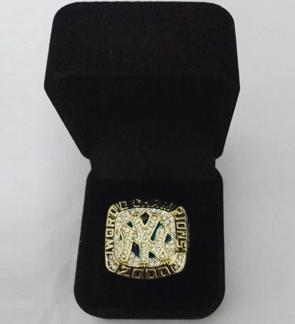 2000  New York Yankees Major League Baseball Zinc Alloy gold plated Custom Sports Replica Championship Ring With Fabric Boxes