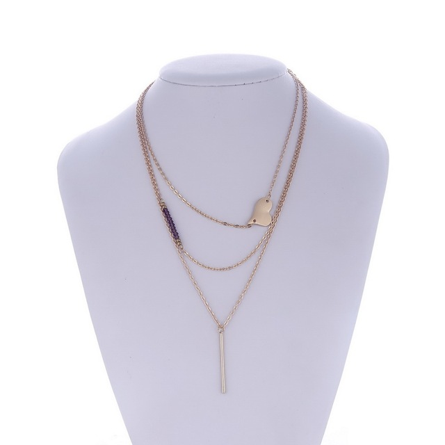 New Fashion 3 Layers Necklace Charm Bar Heart Beads Pendants Necklace Gold Color Alloy Thin Chain Necklace for Women Jewelry