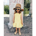 1-4y Chidren Dress Toddler Girls Summer Dress 2017 Fashion Sleeveless Yellow Stripe Baby Girl Dress Cotton Girls Clothes