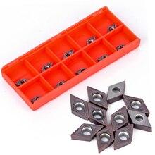 10 шт. 55 градусов Алмазная форма карбида вставка DCMT0702 YBC205 вставки набор для токарного станка расточные инструменты