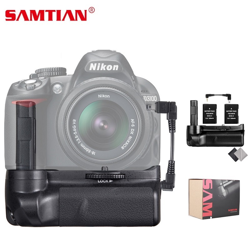 SAMTIAN Vertical Batterie Grip Pour Nikon D3100 D3200 D3300 Caméra Venir Batterie Poignée Avec 2 pcs EN-EL14 Batterie