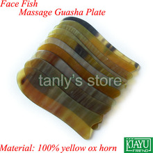 100% yellow Ox Horn! Wholesale & Retail Face Beauty & Health Massage Guasha Board 5 pcs/lot (gift bag & gua sha chart)