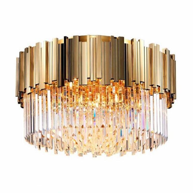 Sala de cristal luxo luzes teto moderno ouro redondo cristal led casa iluminação interior luminárias