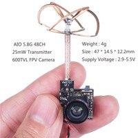 SunFounder FPV Micro AIO Camera 600TVL 5.8G 48CH 25 mW Trasmettitore Clover Leaf Antenna SF-C02 per FPV Drone Interna lama Inductri