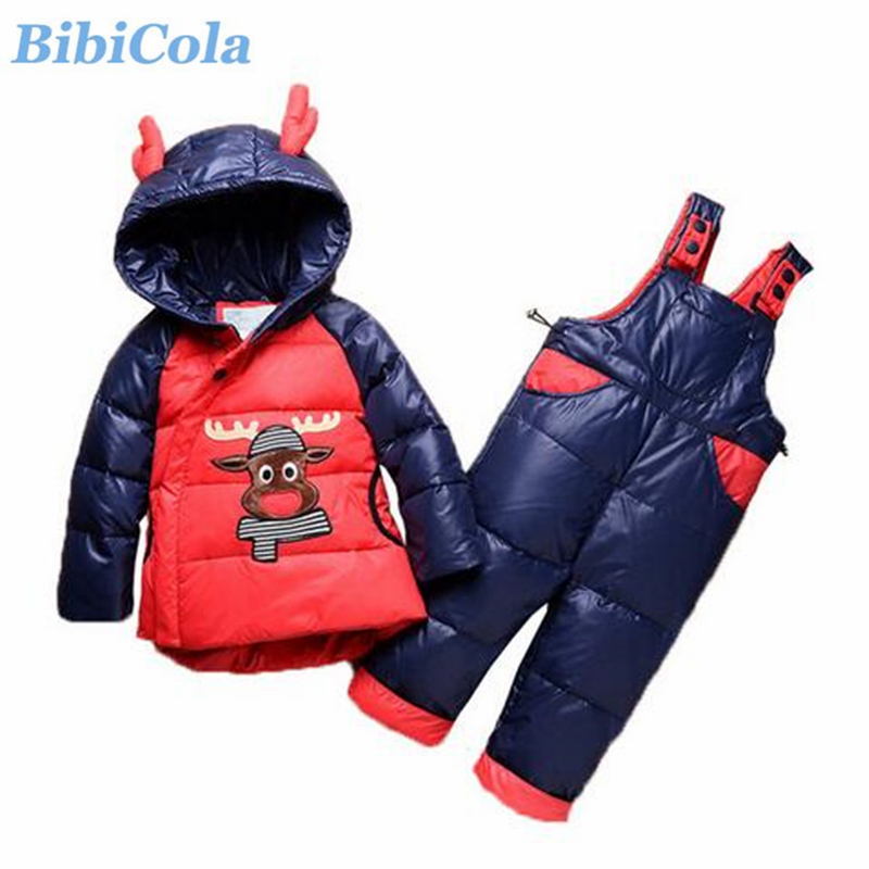 BibiCola Baby Boy Clothing Set Bebe Winter Clothes Infant 2pcs Sport Hooded Down Coat Jackets+Bib Pants Toddler Tracksuit Set 2pcs baby boy clothing set autumn baby boy clothes cotton children clothing roupas bebe infant baby costume kids t shirt pants