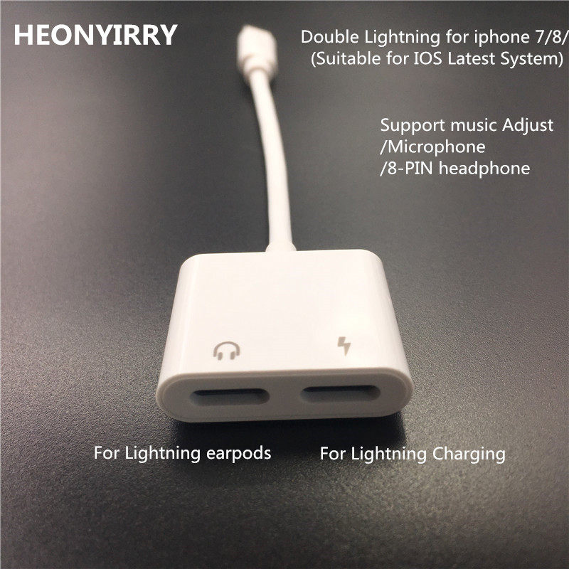 2 in 1 Double Jack Audio Adapter for iPhone 7/8/X for iOS11 Charging Music or Call For Lightning Charging Adapter earphone цена и фото