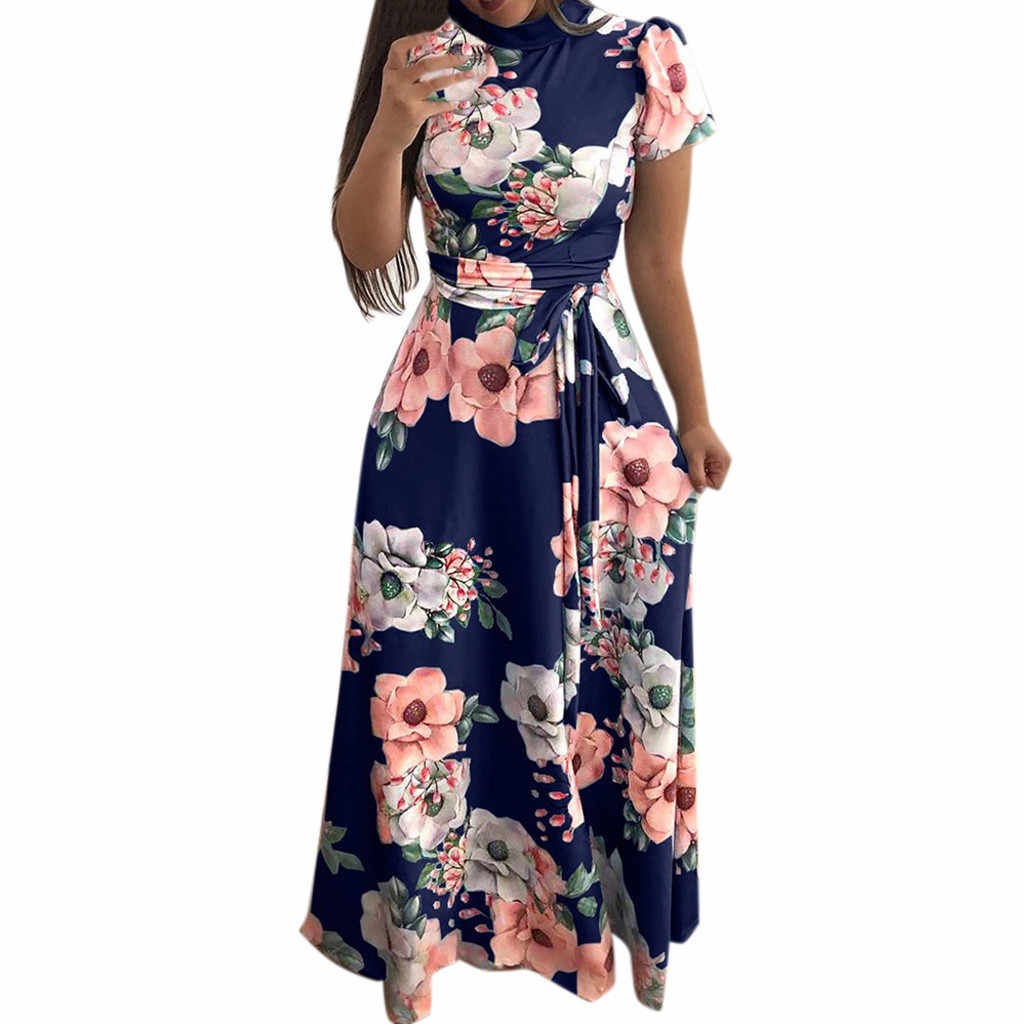 Plus Size Maxi Dress Summer Women Fashion Short Sleeve Floral Print High Waist Elegant Lace Up Belt Long Sundress Vestidos Mujer