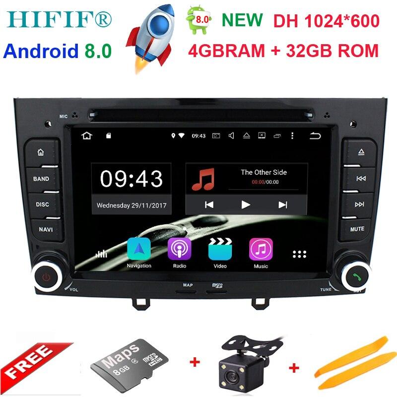IPS 7 pouces 1024*600 Octa base Android 8.0 4G RAM 32 GROM Multimédia Lecteur dvd de Voiture Pour peugeot 308 408 avec wifi radio GPS BT RDS