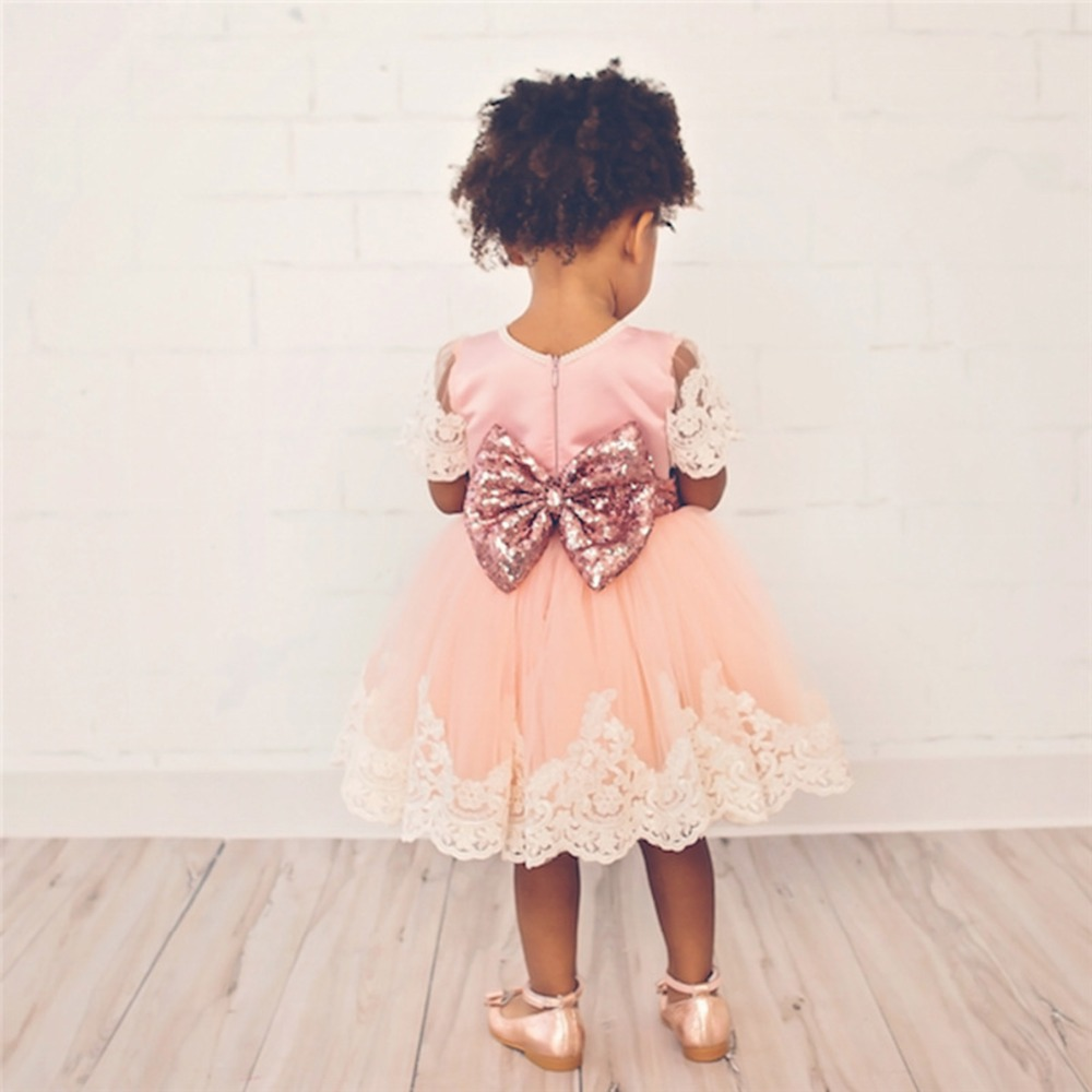 Puseky 2017 New Baby Girls Princess Dress Clothes Short Sleeve Lace Bow Ball Gown Tutu Party Dress Toddler Kids Fancy Dress 0-6Y fashion kids girls toddler baby lace princess party dress clothes 2 7y