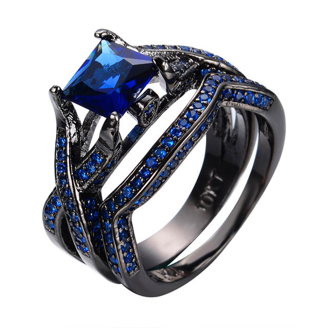 Vintage Style Jewelry Princess Cut Blue Stone Cross Band Rings Men Women Black Gold Filled Wedding Engagement Ring Set RB0228