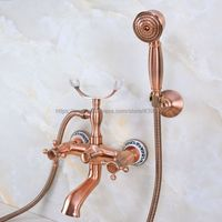 Antique Red Copper Dual Handles Bathtub Faucet Wall Mounted Swive Spout with Handshower Tub Mixer Tap Bna361