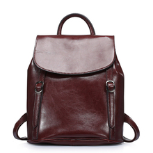 Women Designer Genuine Leather Backpack Belt Buckle Simple Casual Daypack Ladies Black Brown Cow Leather Packsack