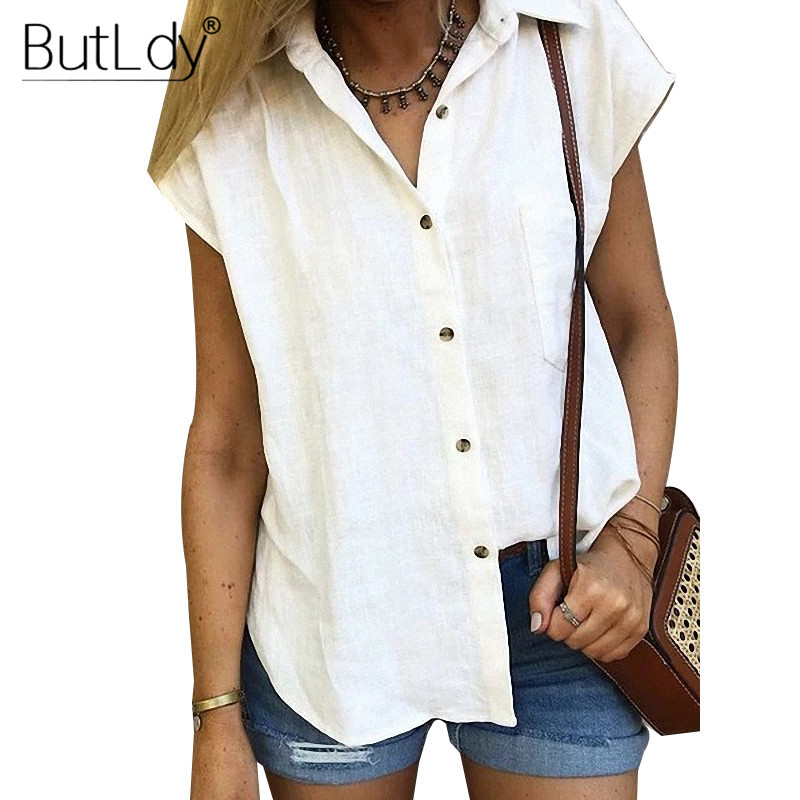 White   Blouse     Shirt   Women Summer 2019 Short Sleeve Turn Down Collar   Shirt   Female Top Casual Button Cardigan Tops and   Blouses