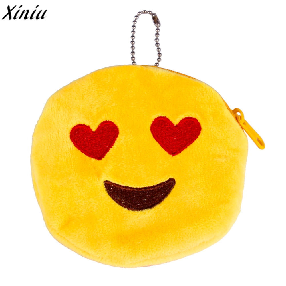 Coin Purse Emoticon Round Zipper Plush Soft Change Bag Emoji Chain Mini Wallet Children Cute Small Purse Bozuk Para Kesesi #6227