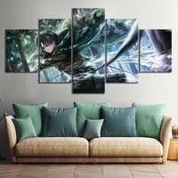 5 Piece Levi Ackerman Attack on Titan Anime Poster Drawing Art Canvas Paintings Wall Art for Home Decor 1