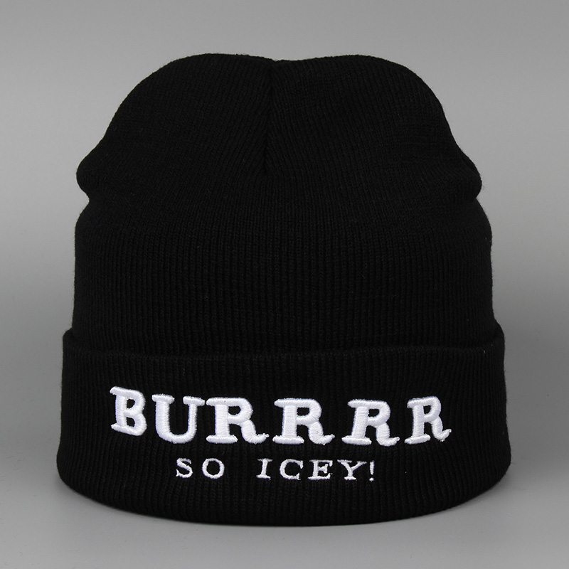 BURRRR SO ICEY Letter Knitted Hat Female For Women Men Hip Hop Brand Winter Casual High Quality Warm Hot Sale Skullies Beanies rwby letter hot sale wool beanie female winter hat men