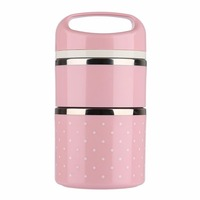 Portable Cute Japanese Box Leak Proof 2 Layers Stainless Steel Thermal Lunch Boxs For Kids Picnic
