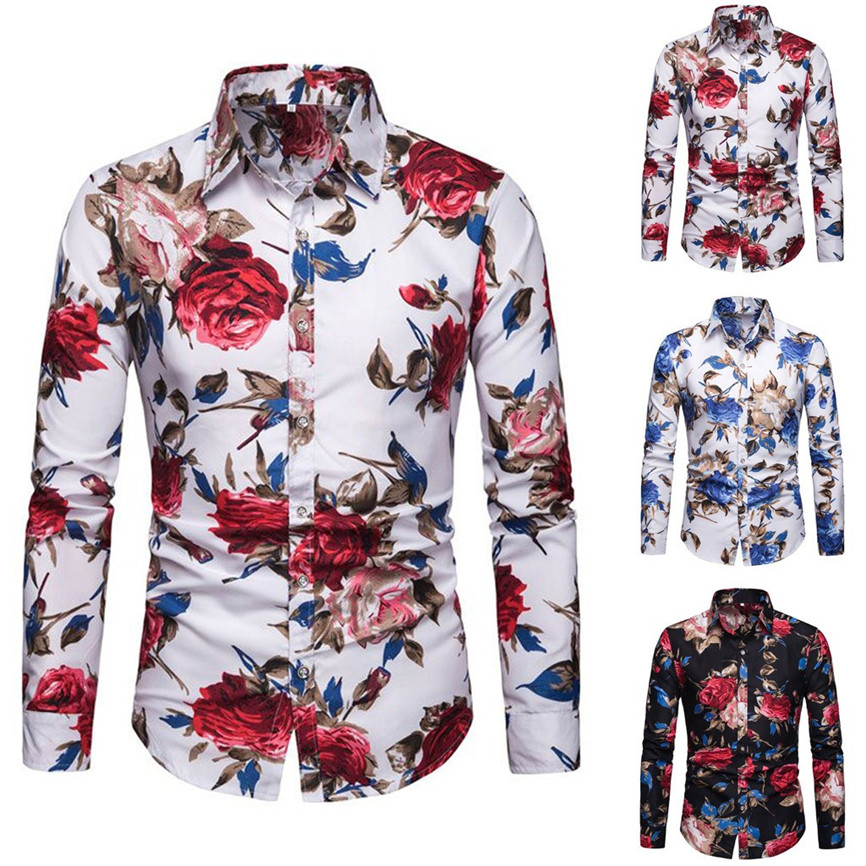 2019 Mens Shirt New Fashion Hot Summer Casual Men New Printed  Buttons Stand Collar Collar Fit Slim Long Sleeve Mens Shirt 40@