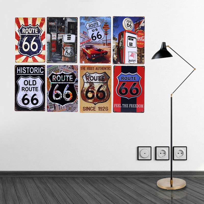 US $3 78 5% OFF Vintage Route 66 Metal Signs Gas Station Car Oil Garage Bar  Pub Home Decor Wall Decorative Plates 20x30cm Retro Poster YN106-in