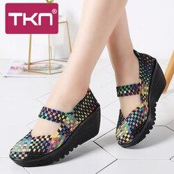 TKN 2019 Summer Women Platform Sandals Shoes Women Woven elastic Shoes Wedge Sandals multi colors cover shoes footwear Women 889 1