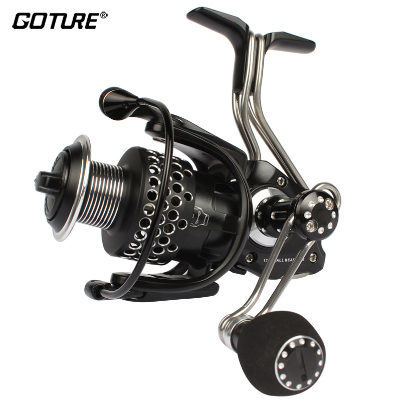 цена на Goture Fishing Reel Spinning 12+1BB 5.1:1 Aluminum Spool With Two Hands Carp Wheel For Trolling Saltwater Fishing