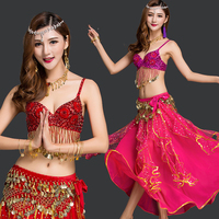 Belly Dance Costumes Indian Dance Costumes Belly Dance Bra And Belt Sets Sexy Clothes Tribal Dance Wear 6 Colors 3 Pcs DN1401