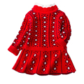 Buenos Ninos Baby Girls Sweater Dresses Autumn&Winter Princess Geometric Print Design Dress Kids Knitted Clothes