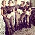 Black And Champagne Sereia Pescoço Da Colher da Luva do Tampão Da Dama de honra Vestido Longo Vestido de Festa de Casamento