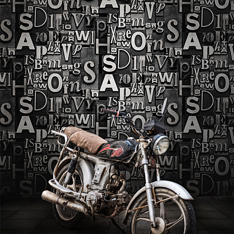 Vintage wallpaper 3D stereo personality English alphabet barber shop restaurant bar clothing store KTV background wall paper in Wallpapers from Home Improvement