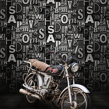 Vintage wallpaper 3D stereo personality English alphabet barber shop restaurant bar clothing store KTV background wall paper