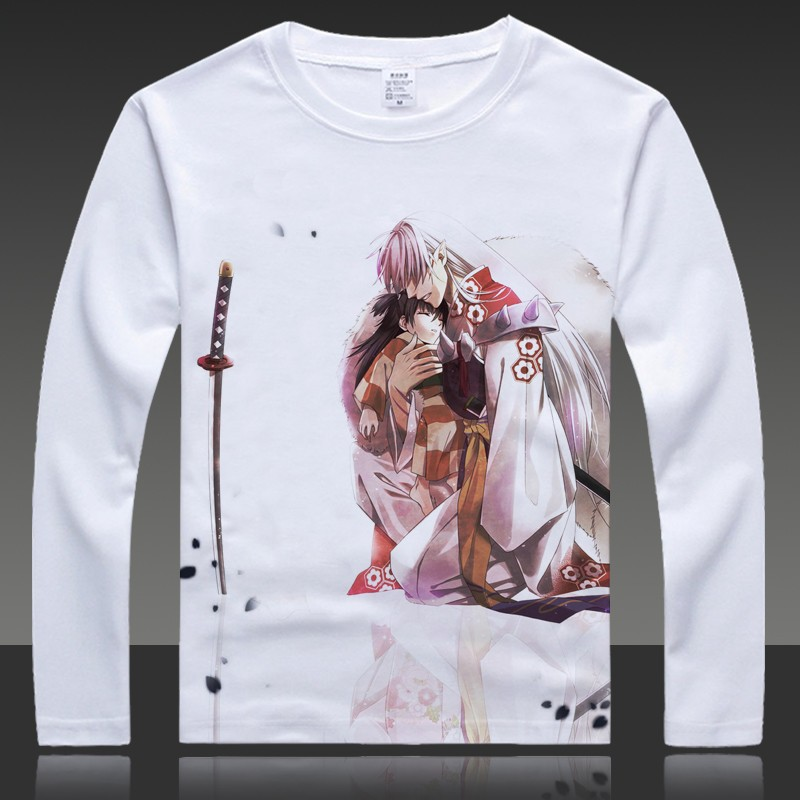 Cartoon Inuyasha Print T-shirts Sesshoumaru Long Sleeve Full T Shirt HigurashiKagome Tops Autumn Tees Clothes (6)