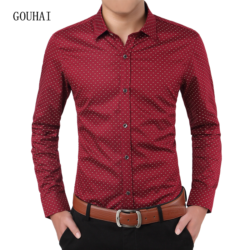 Long Sleeve Men's Shirt Polka Dot 100% Cotton Luxury Brand Mens Shirt Casual Slim Fit Male Social Shirt Plus Size 3XL 4XL 5XL