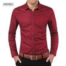 820141ab Long Sleeve Men's Shirt Polka Dot 100% Cotton Luxury Brand Mens Shirt  Casual Slim Fit Male Social Shirt Plus Size 3XL 4XL 5XL