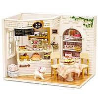 Casa de bonecas móveis diy miniatura capa poeira 3d miniaturas de madeira brinquedos para crianças presentes aniversário bolo diário h14